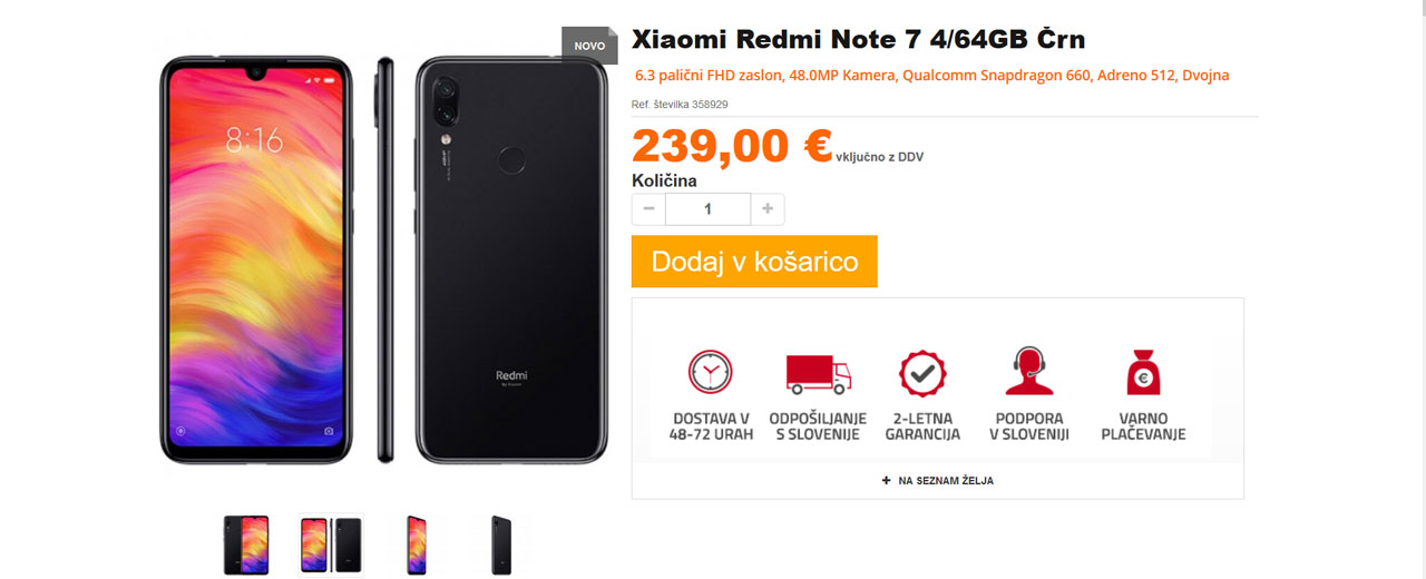 Redmi Note 7 v trgovini Mishop